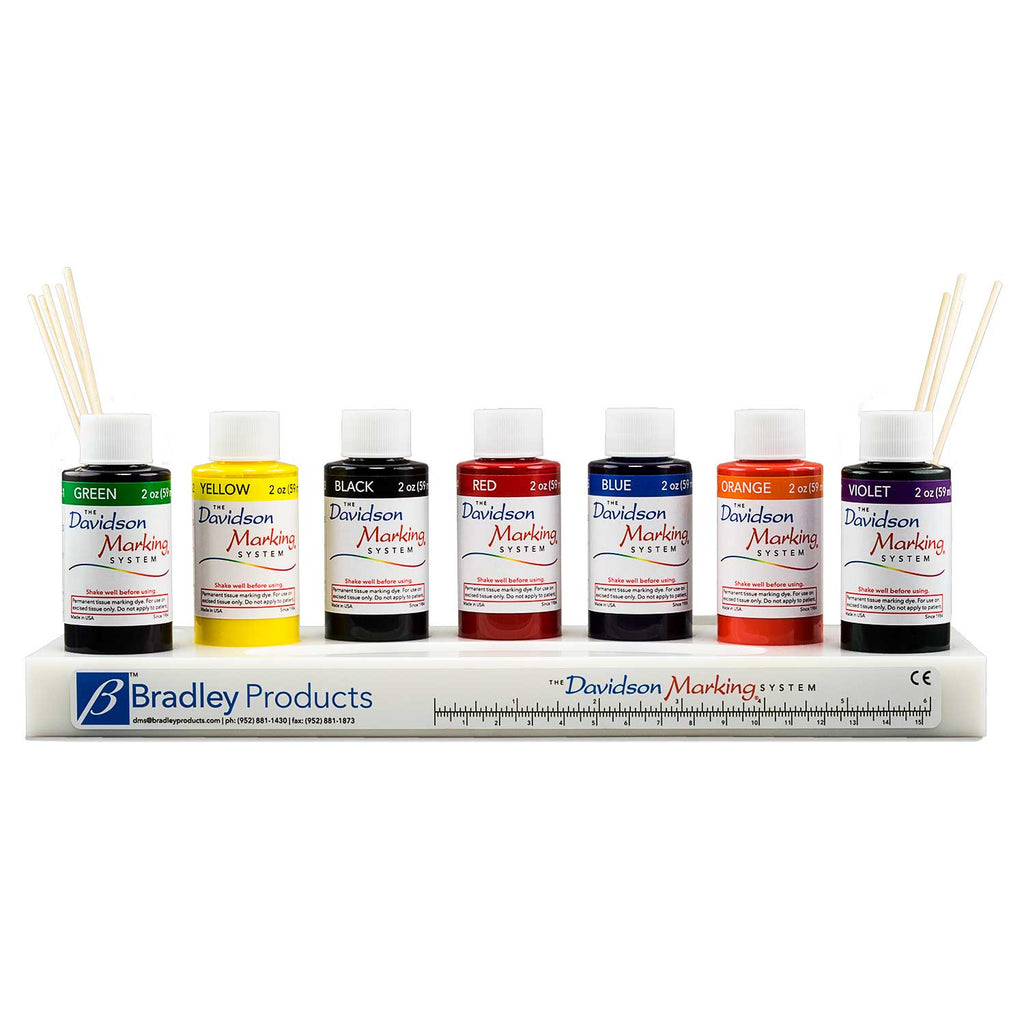 7 color tissue marking dye kit - 2oz, plastic tray