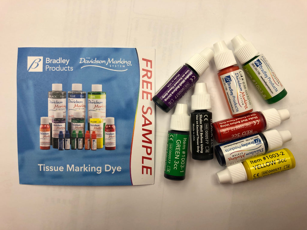 Photo of a free sample of Bradley Products' Tissue Marking dyes