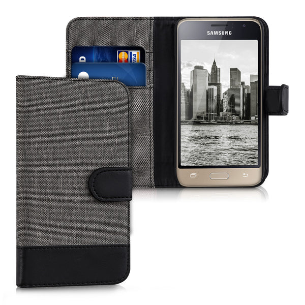 Wallet Canvas Artificial Leather Cover Case για Samsung Galaxy J1 (2016) Gray Black