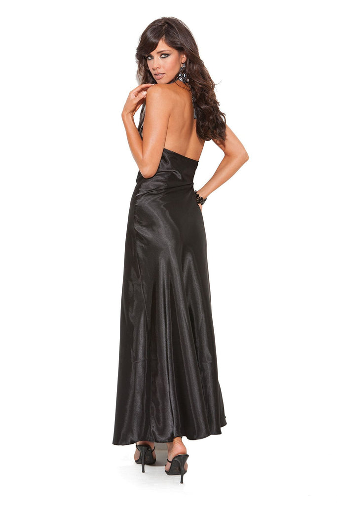 Black Halter Neck Gown - SexyLingerieCollection