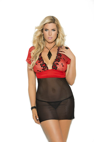 Pink & Embroidered Mesh Cups Babydoll