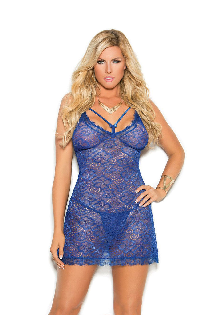 Royal Blue Lace Babydoll - SexyLingerieCollection