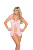 Pink & Embroidered Mesh Cups Babydoll - SexyLingerieCollection