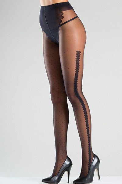 Sheer tights with polka dots and zig-zag side design