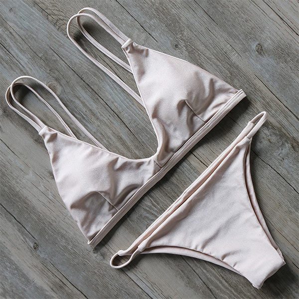 Double Back Strap Bikini Set