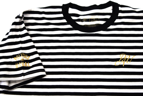 P.A.U. EARN YOUR STRIPES TEE (WHT/BLK)