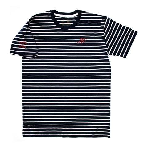 P.A.U. EARN YOUR STRIPES TEE (NVY/WHT)