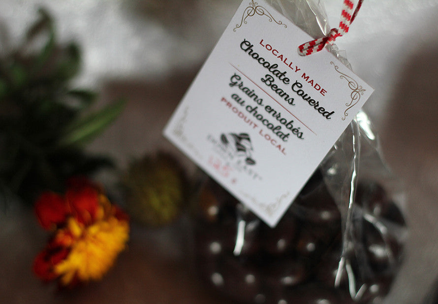 chocolate covered coffee beans at Down East