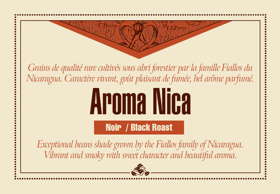 Shade grown AROMA NICA - Black coffee label