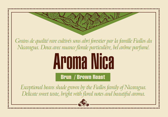 Shade grown AROMA NICA - Brown coffee label