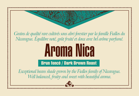 Shade grown AROMA NICA - Dark Brown coffee label