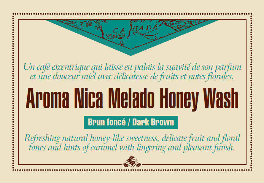 Aroma Nica Melado Honey coffee label
