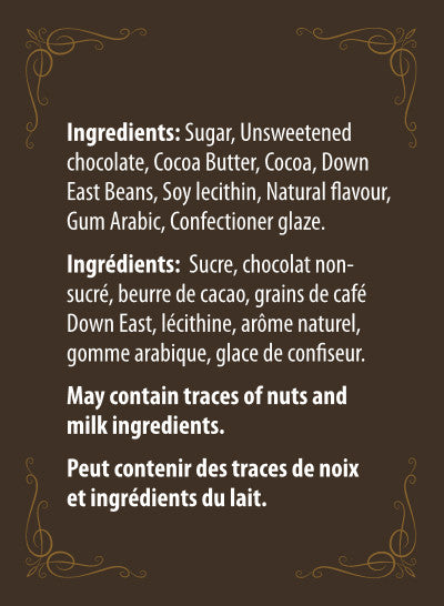 back label for chocolate covered beans