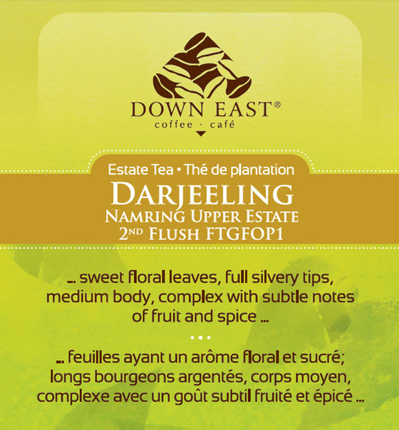 BLACK TEA LABEL: Darljeeling Namring Upper Estate Loose Leaf Tea - black - Down East Coffee Roasters