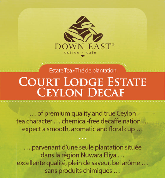 Court Lodge Estate Ceylon Decaf label