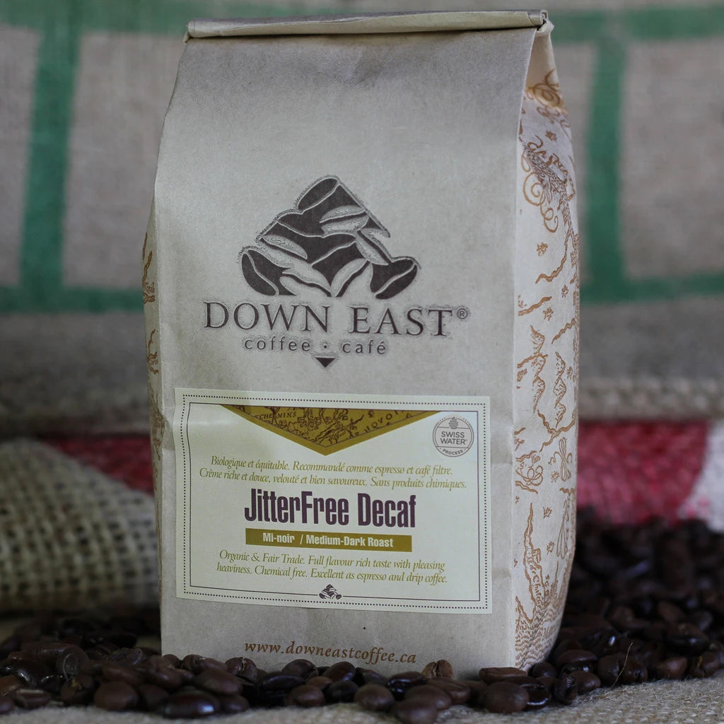 Our JitterFree Decaf Organic SWP Fair Trade coffee beans