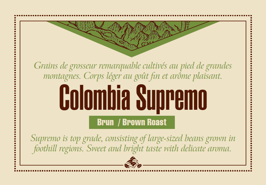 Colombia Supremo Down East Coffee label