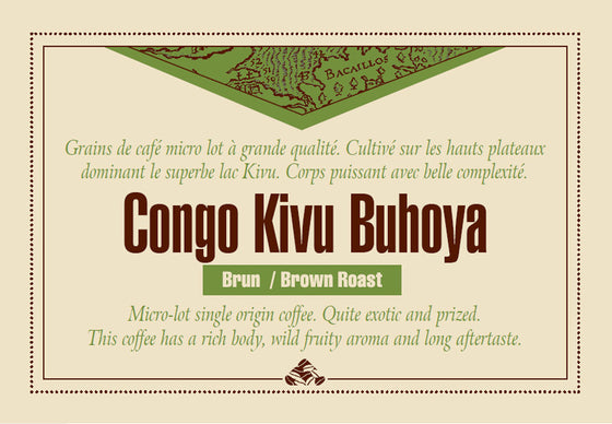 Congo Kivu Buhoya Brown roast coffee label