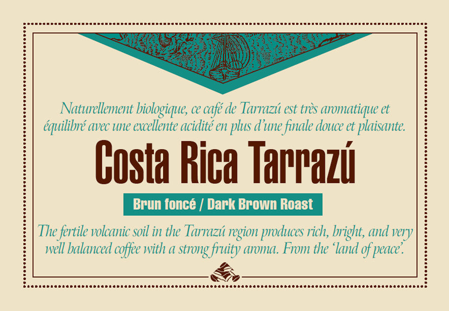 Costa Rica Tarrazú Down East coffee label
