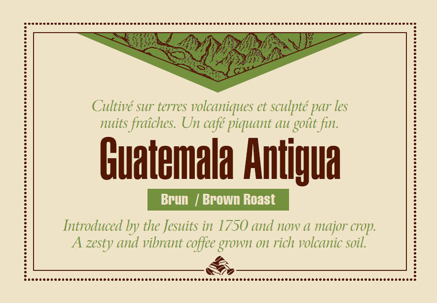 Guatemala Antigua Down East coffee label