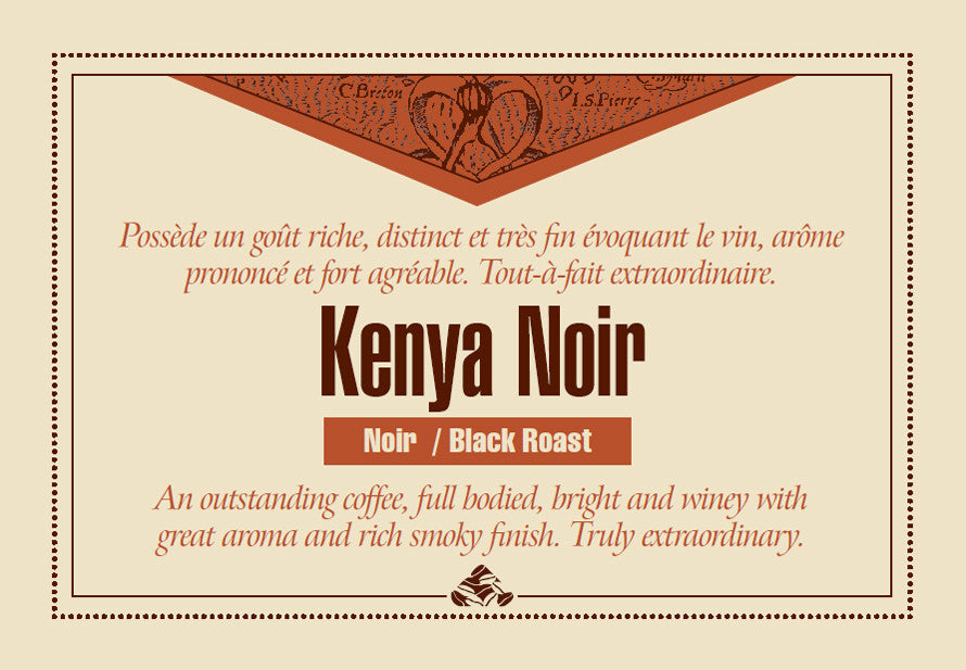 Kenya Noir Down East coffee label