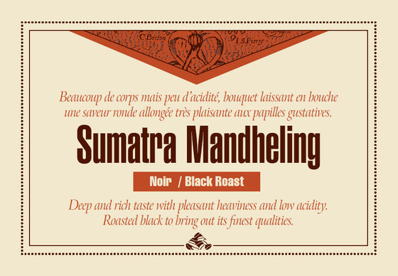Sumatra Mandheling Down East coffee label