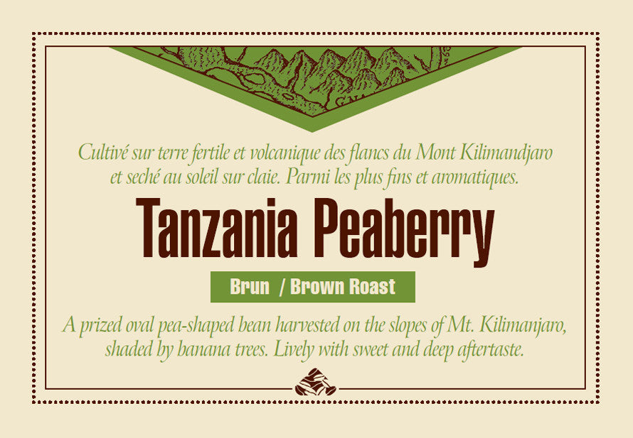 Tanzania Peaberry Down East coffee label