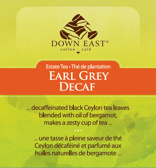 BLACK TEA LABEL: Earl Grey DECAF Loose Leaf Tea - black - Down East Coffee Roasters