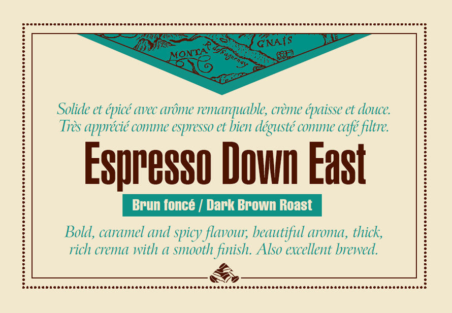 Espresso Down East coffee label