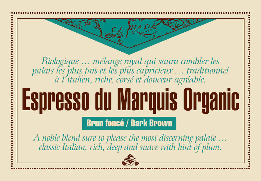 Espresso du Marquis Organic coffee label