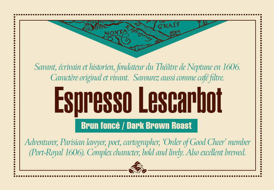 Espresso Lescarbot coffee label