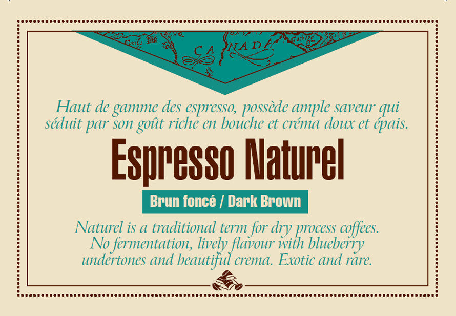 Espresso Naturel coffee label