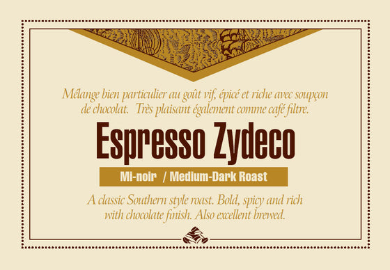 Espresso Zydeco coffee label