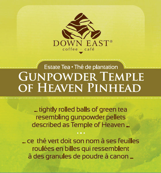 GREEN TEA LABEL: Gunpowder Temple of Heaven Pinhead Loose Leaf Tea - GREEN - Down East Coffee Roasters