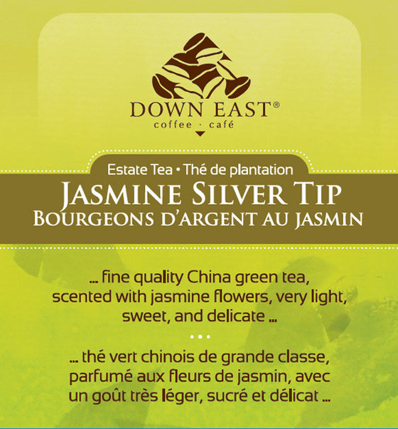 GREEN TEA LABEL : Jasmine Silver Tip Loose Leaf Tea - GREEN - Down East Coffee Roasters