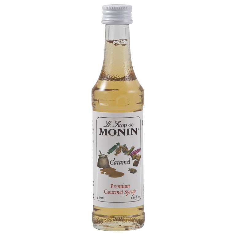mini bottles of Monin caramel syrup