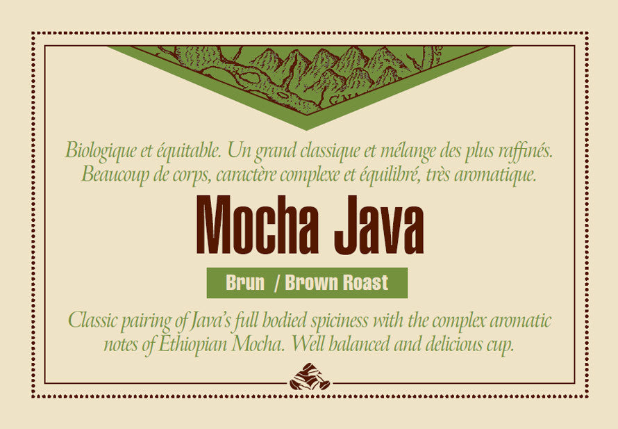 Mocha Java Organic Fair Trade coffee label
