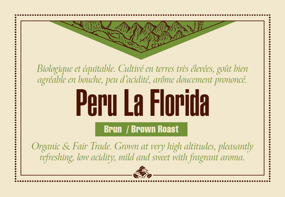 Peru La Florida Organic Fair Trade coffee label