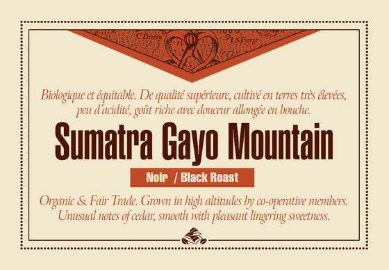 Sumatra Gayo Mountain coffee label