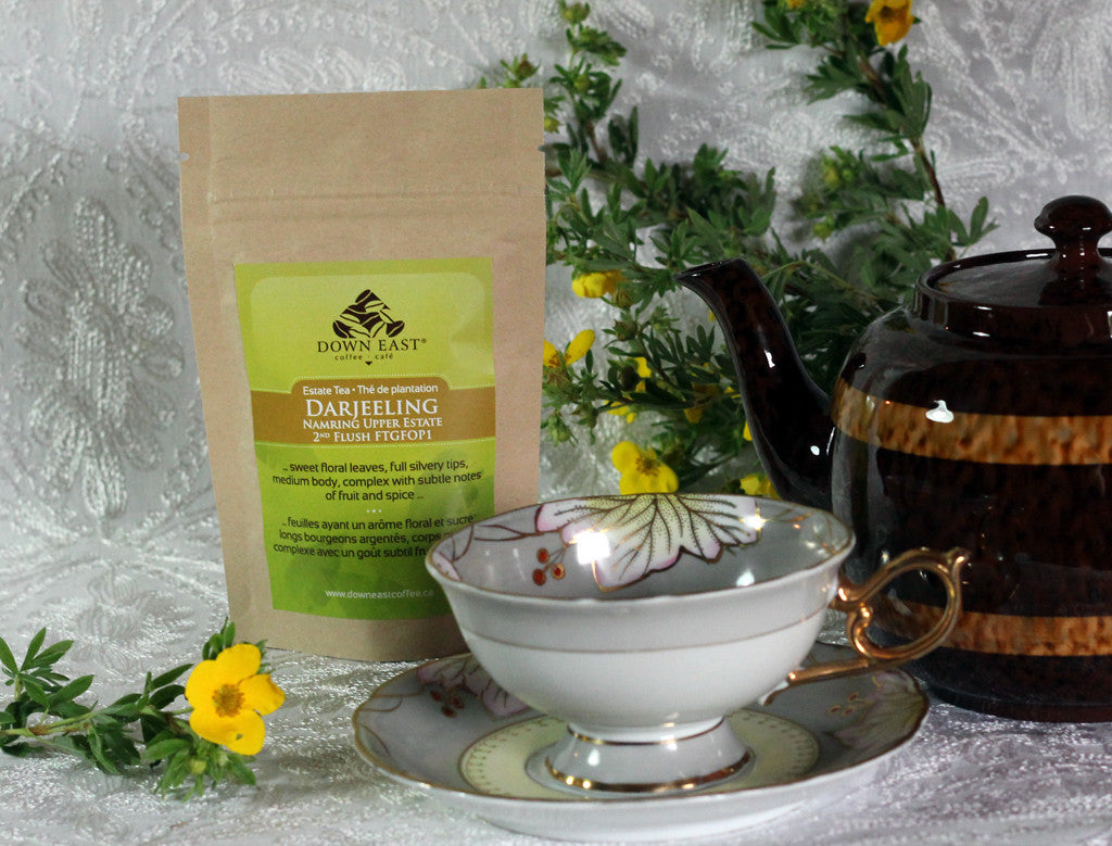 BLACK TEA pouch and cup: Darjeeling Namring Upper Estate Loose Leaf Tea - black - Down East Coffee Roasters