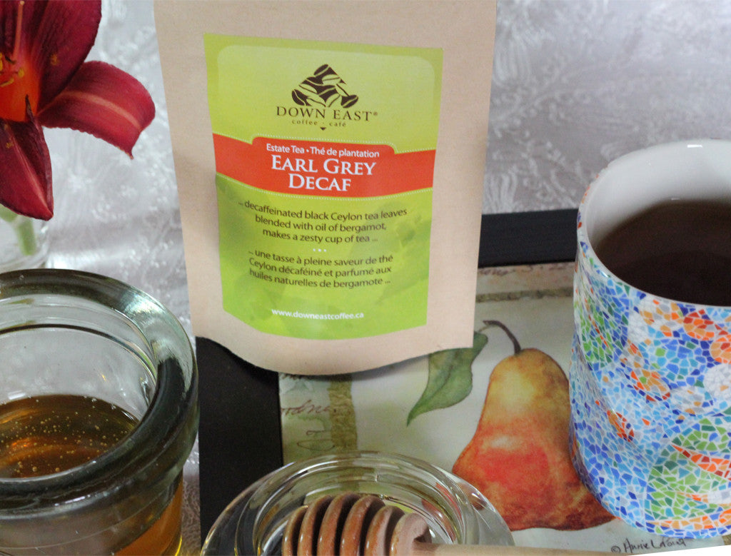 BLACK TEA pouch and cup: Earl Grey DECAF Loose Leaf Tea - black - Down East Coffee Roasters