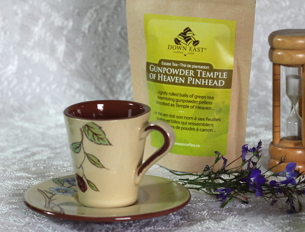 GREEN TEA pouches and cup: Gunpowder Temple Loose Leaf Tea - GREEN - Down East Coffee Roasters