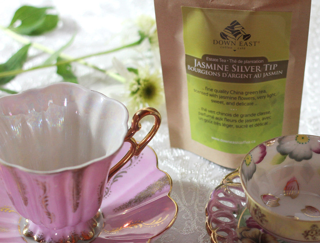 GREEN TEA pouch and cup : Jasmine Silver Tip Loose Leaf Tea - GREEN - Down East Coffee Roasters
