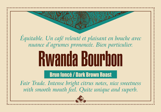 Rwanda AA Bourbon coffee beans label, dark brown roast
