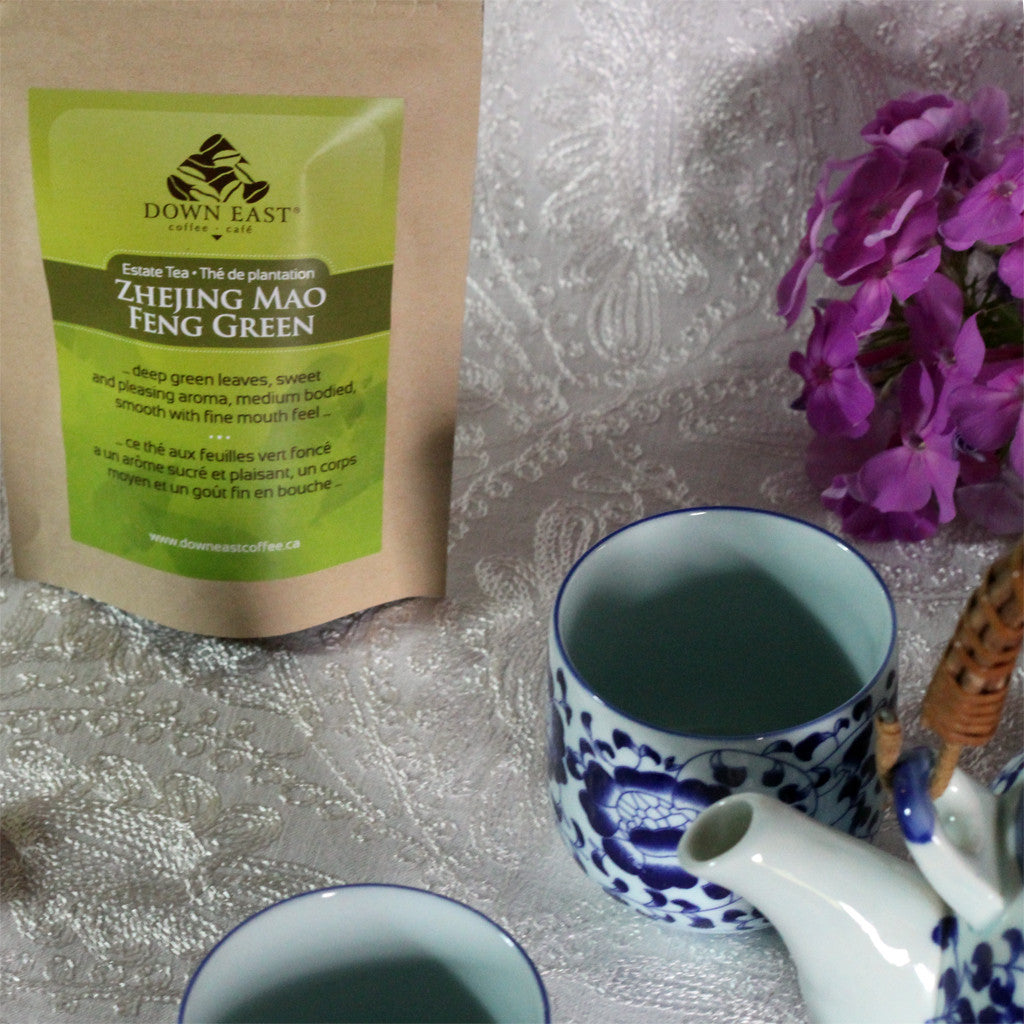 GREEN TEA pouch and cups : Zhejing Mao Feng Green Loose Leaf Tea - GREEN - Down East Coffee Roasters