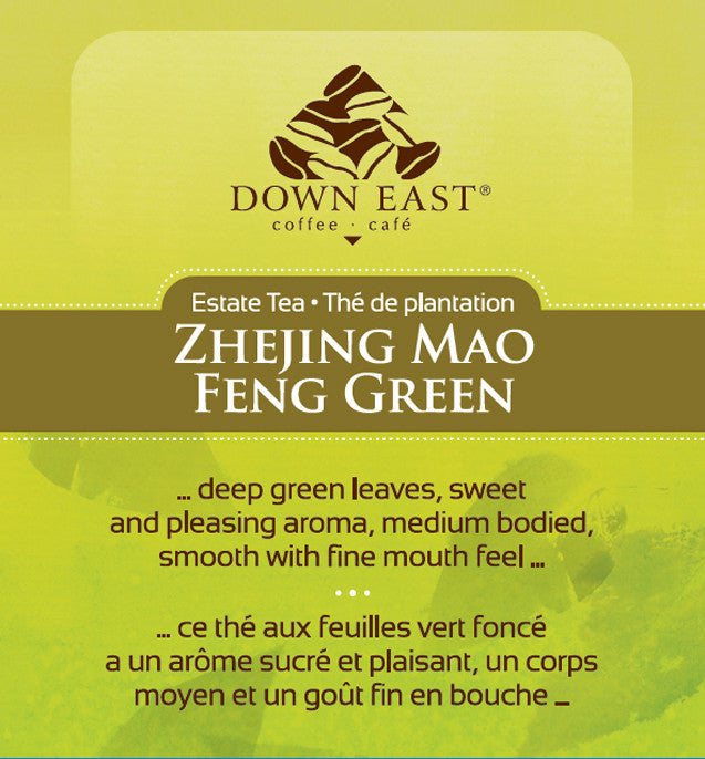 GREEN TEA LABEL: Zhejing Mao Feng Loose Leaf Tea - GREEN - Down East Coffee Roasters