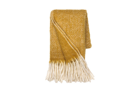 Ochre Mohair Melange Throw
