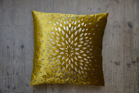 Aztec Chrysanthemum Velvet Cushion