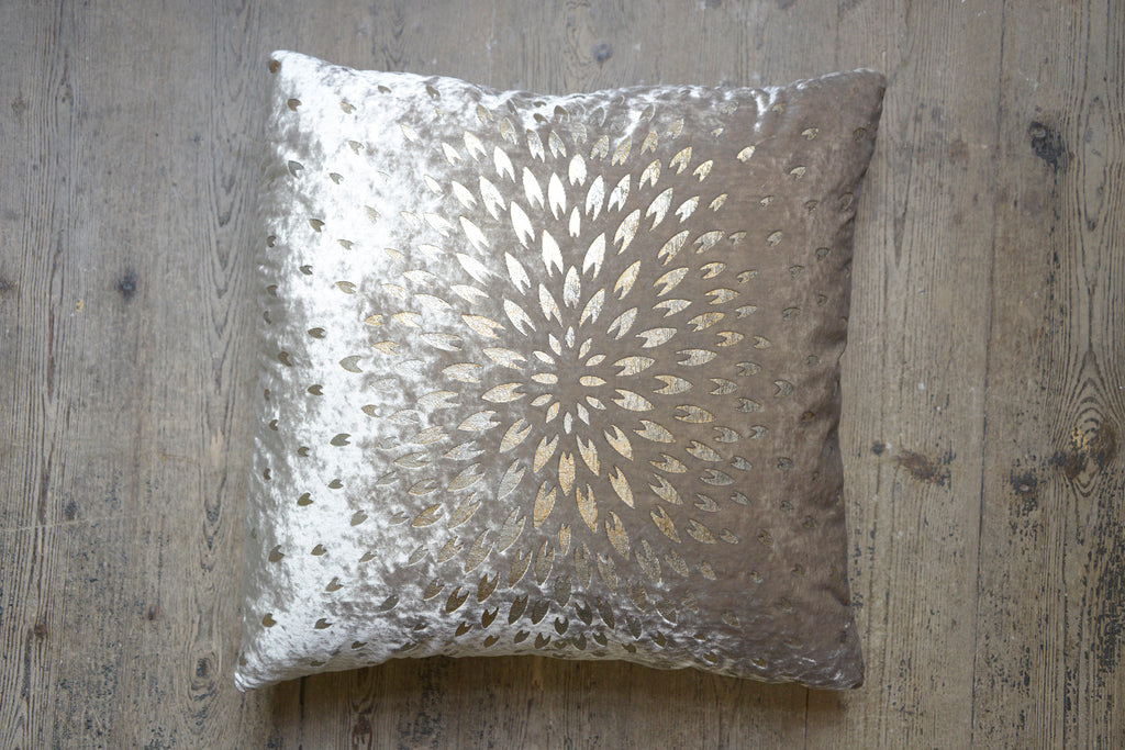 Old Rose Chrysanthemum Velvet Cushion