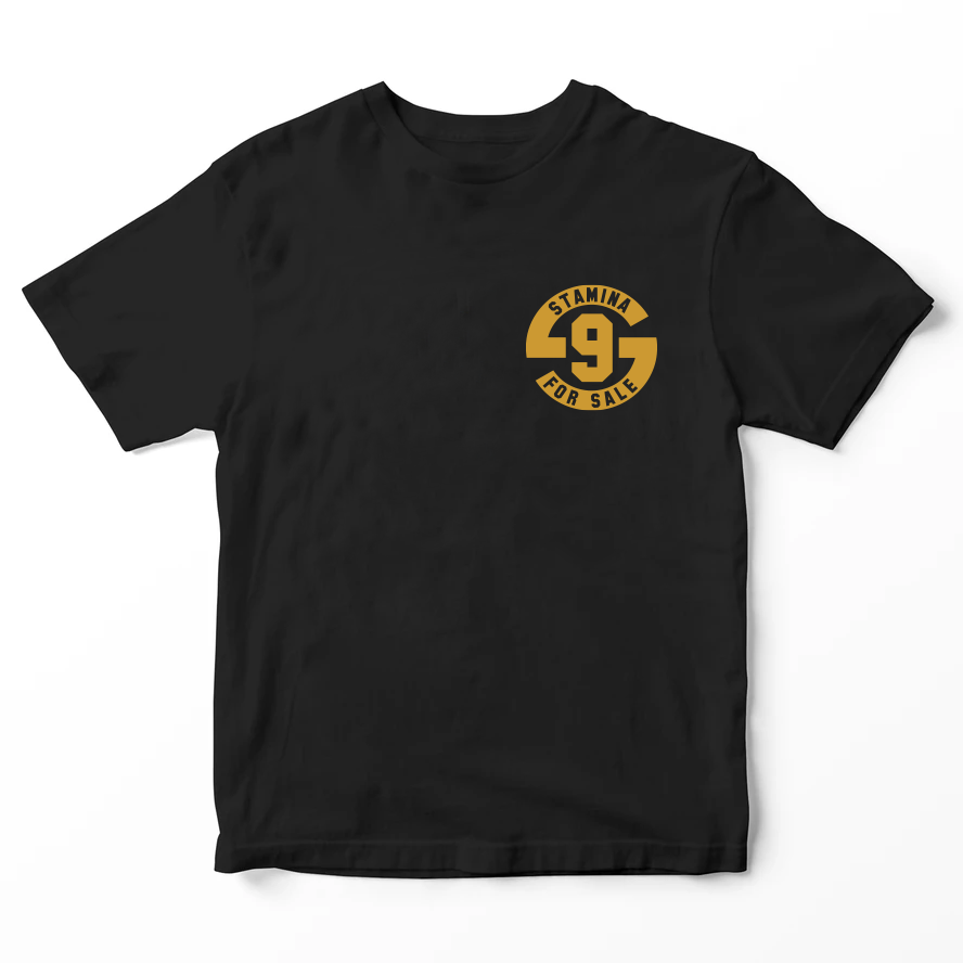 Kids T-Shirt with metallic gold Stamina for Sale logo - Original